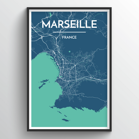 Affordable wholesale art prints of Marseille - City Map Art Print