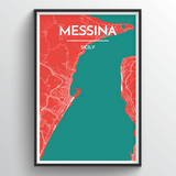 Affordable wholesale art prints of Messina - City Map Art Print