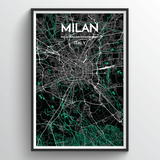 Affordable wholesale art prints of Milan - City Map Art Print