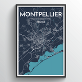 Affordable wholesale art prints of Montpellier - City Map Art Print