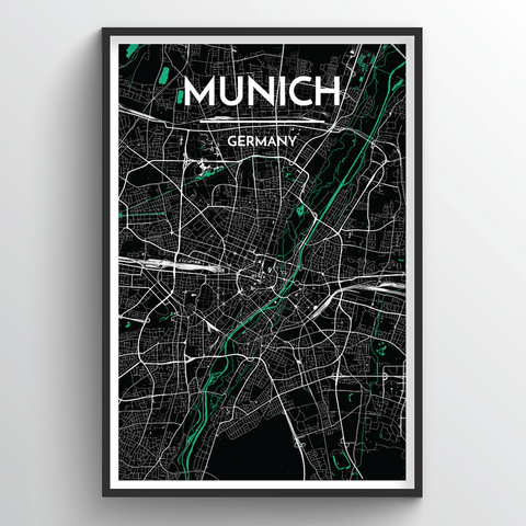 Affordable wholesale art prints of Munich - City Map Art Print