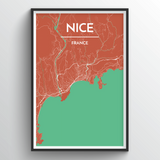 Affordable wholesale art prints of Nice - City Map Art Print