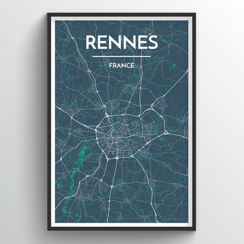 Affordable wholesale art prints of Rennes - City Map Art Print
