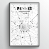 Rennes Map Art