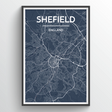 Affordable wholesale art prints of Sheffield - City Map Art Print