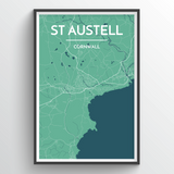 Affordable wholesale art prints of St Austell - City Map Art Print