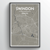 Affordable wholesale art prints of Swindon - City Map Art Print