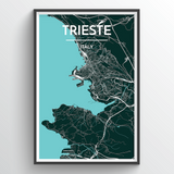Affordable wholesale art prints of Trieste - City Map Art Print