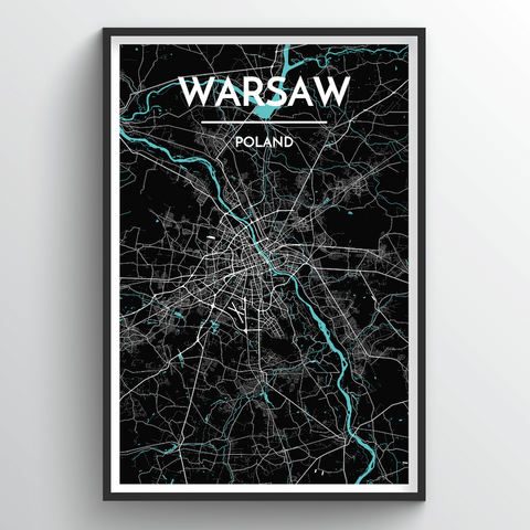 Affordable wholesale art prints of Warsaw - City Map Art Print