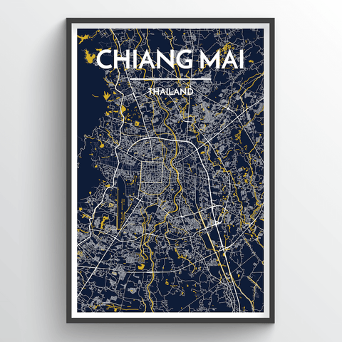 Affordable wholesale art prints of Chiang Mai - City Map Art Print
