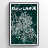 Affordable wholesale art prints of Kuala Lumpur - City Map Art Print