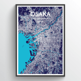 Affordable wholesale art prints of Osaka - City Map Art Print