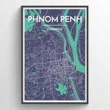 Affordable wholesale art prints of Phenom Penh - City Map Art Print