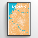 Affordable wholesale art prints of Taichung - City Map Art Print