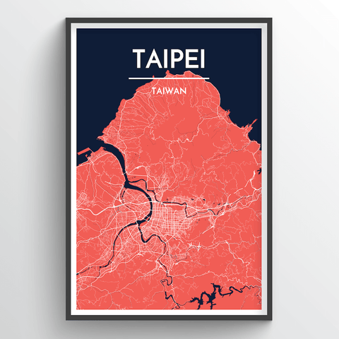 Affordable wholesale art prints of Taipei - City Map Art Print