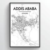 Addis Ababa Map Art