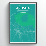 Affordable wholesale art prints of Arusha - City Map Art Print