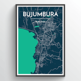 Affordable wholesale art prints of Bujumbura - City Map Art Print