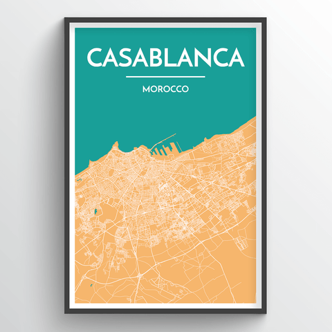 Affordable wholesale art prints of Casablanca - City Map Art Print