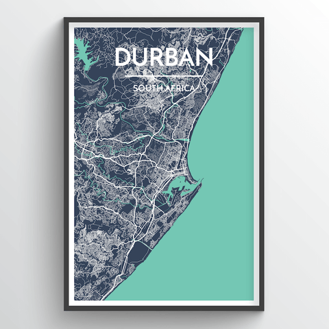 Affordable wholesale art prints of Durban - City Map Art Print