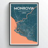 Affordable wholesale art prints of Monrovia - City Map Art Print