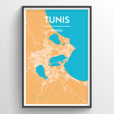 Affordable wholesale art prints of Tunis - City Map Art Print