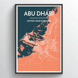 Affordable wholesale art prints of Abu Dhabi - City Map Art Print