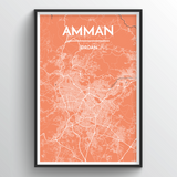 Affordable wholesale art prints of Amman - City Map Art Print