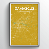 Affordable wholesale art prints of Damascus - City Map Art Print