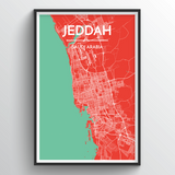 Affordable wholesale art prints of Jeddah - City Map Art Print