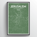 Affordable wholesale art prints of Jerusalem - City Map Art Print