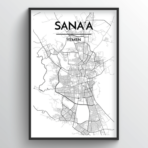 Affordable wholesale art prints of Sana'a - City Map Art Print