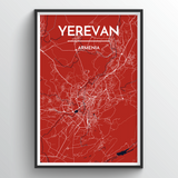 Affordable wholesale art prints of Yerevan - City Map Art Print