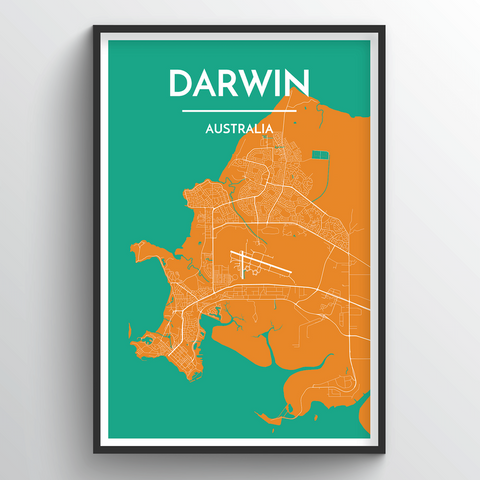 Affordable wholesale art prints of Darwin - City Map Art Print