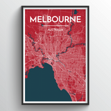 Affordable wholesale art prints of Melbourne - City Map Art Print