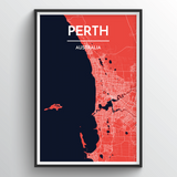 Affordable wholesale art prints of Perth - City Map Art Print