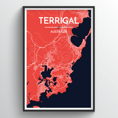 Affordable wholesale art prints of Terrigal - City Map Art Print