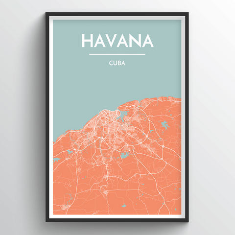 Affordable wholesale art prints of Havana - City Map Art Print