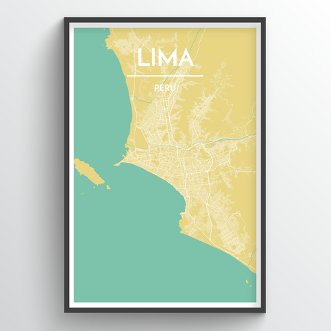 Affordable wholesale art prints of Lima - City Map Art Print