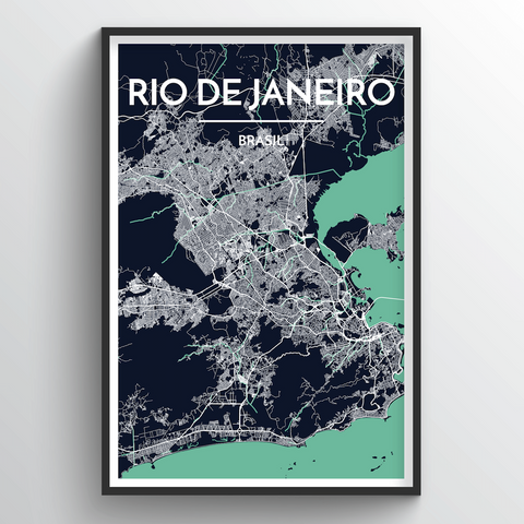 Affordable wholesale art prints of Rio de Janeiro - City Map Art Print