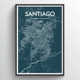 Affordable wholesale art prints of Santiago - City Map Art Print