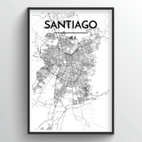 Santiago Map Art