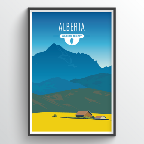 Affordable wholesale art prints of Alberta - Illustrated Province Art
