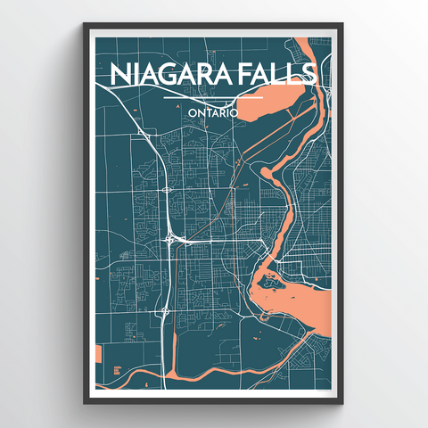 Affordable wholesale art prints of Niagara Falls, Canada - City Map Art Print
