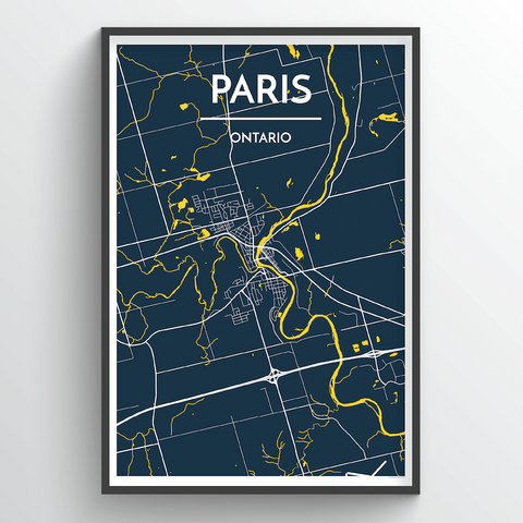 Affordable wholesale art prints of Paris, ON - City Map Art Print
