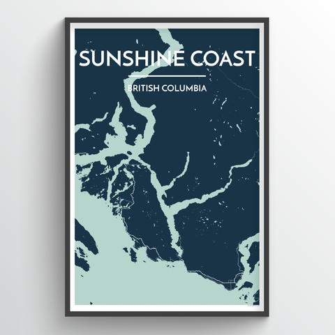 Affordable wholesale art prints of Sunshine Coast - City Map Art Print
