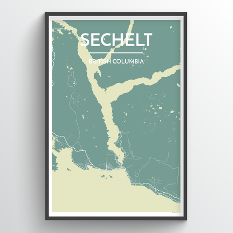 Affordable wholesale art prints of Sechelt - City Map Art Print