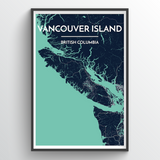 Affordable wholesale art prints of Vancouver Island - City Map Art Print