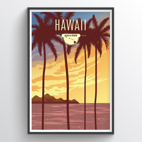 Affordable wholesale art prints of Hawaii - Illustrated State Art