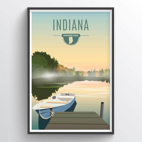 Affordable wholesale art prints of Indiana - Illustrated State Art